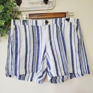 Old Navy White Blue Black Striped Linen Shorts 8